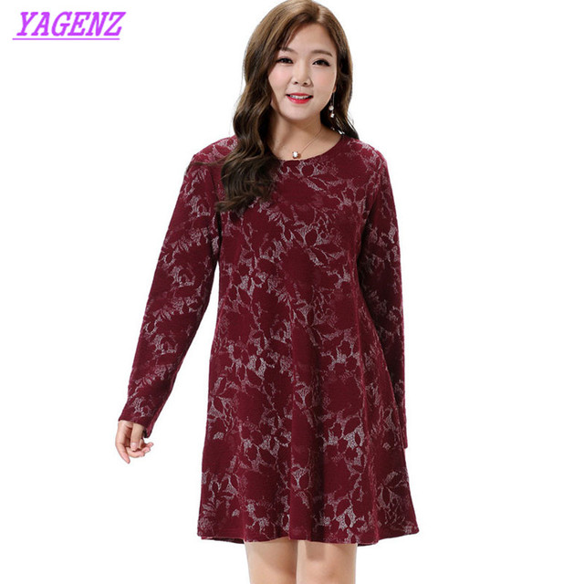 e407ffcaafb1 Extra Large Women s Dress Spring New Round neck Long sleeve Red wine Dress  Young Women Fashion Loose Thin Printing Dress 6XL 684
