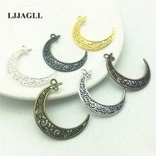 LJJAGLL 12pcs 30*39mm 6 Colors Vintage Metal Alloy Filigree Half Moon Charms DIY Jewelry Pendant Handmade Findings AXX012