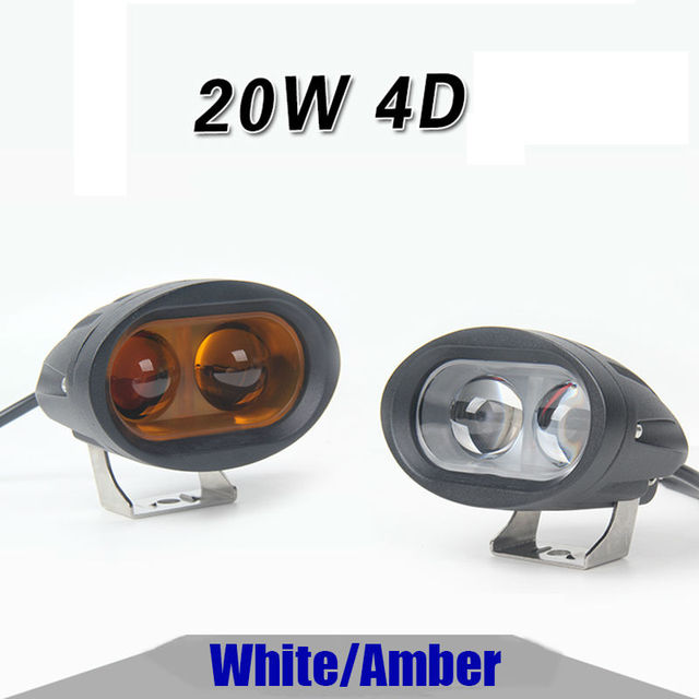 2pcs 4 Inch 4D White/Amber led Work Light 20w Driving Fog Light Spotlight for Jeep Offroad 4x4 ATV UTV SUV 4WD Golf Cart tractor