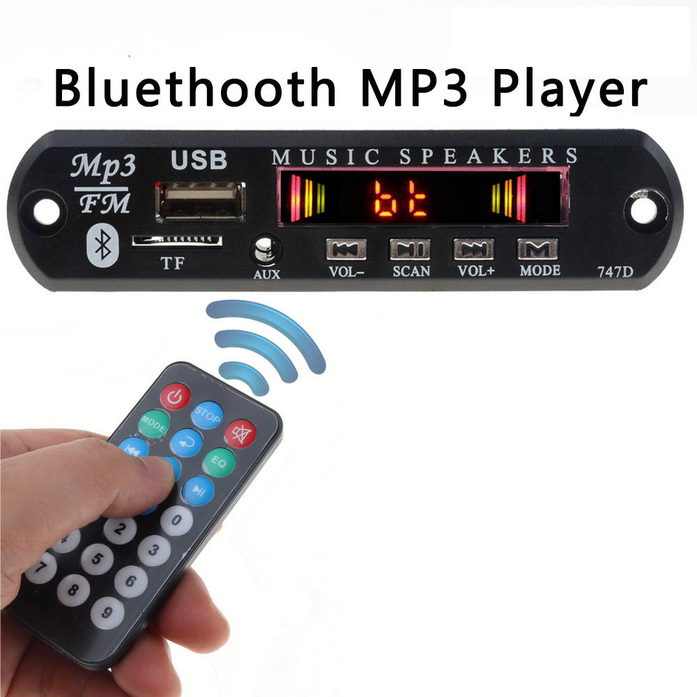 KEBIDU Wireless Bluetooth MP3 WMA Decoder Board 5V 12V USB Car Audio TF FM Radio Module MP3 Player with Remote Control For Car