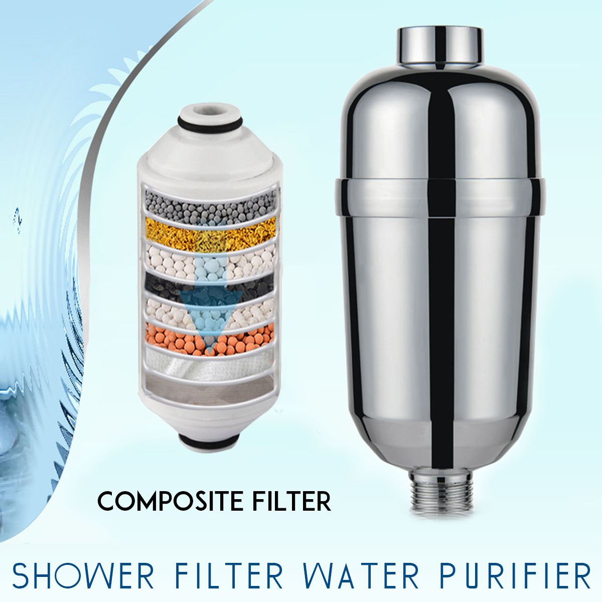 NEW Bathroom Shower Filter Bathing Water Filter Purifier Water Treatment Health Softener Chlorine Removal Water Purifier