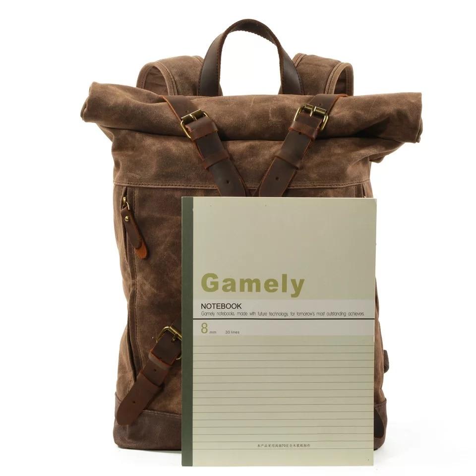 WOHENRED Waxed ผ้าใบกระเป๋าเป้สะพายหลังชายกระเป๋านักเรียนกระเป๋าแล็ปท็อป Daypack ขนาดใหญ่ความจุเยาวชน Anti   theft Rucksack คุณภาพสูง-ใน กระเป๋าเป้ จาก สัมภาระและกระเป๋า บน   3