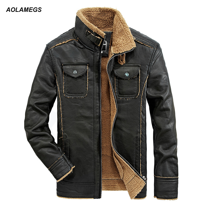 Aolamegs Men Winter Leather Jackets Thick Warm Motorcycle Biker Jacket Multi Pocket Stand Collar Fashion Men's Windproof Coat dhl free shipping top brand warm a1 clothing man 100% vintage italy leather jackets thick men s genuine leather biker jacket