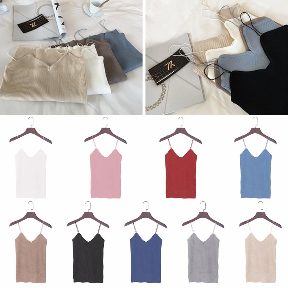 HTB19saJPVXXXXcSaXXXq6xXFXXXc - REE SHIPPING 9 Colors Knitted Tank Tops Women Stretchable VNeck Slim JKP311