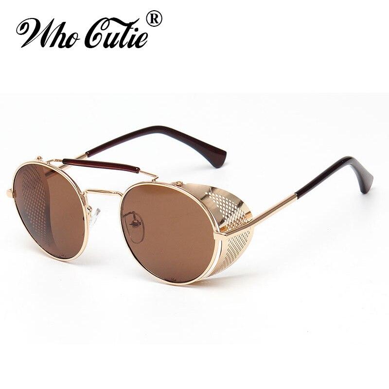 WHO CUTIE 2018 Round Steampunk Goggles Sunglasses Men Brand Designer Vintage Retro Circle Metal Iron Man Punk Sun Glasses OM143