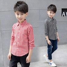 db32642fb Escuela para el muchacho 2018 otoño Plaid algodón camisa Casual niños blusa  adolescente 10 12 grande niño ropa niños ropa