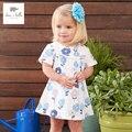 DB3173 dave bella bebê menina do verão roupas meninas vestido de bebê vestido azul impresso vestido de aniversário dos miúdos trajes