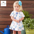 DB3173 dave bella summer baby girl blue dress baby printed dress kids birthday clothes dress girls costumes