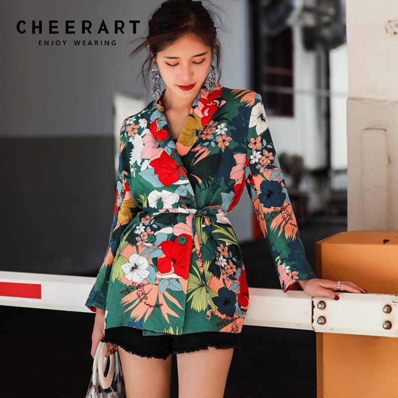 Cheerart Floral Blazer Women Spring 2018 Flower Print Blazer And Jackets Ladies Slim Lace Up Korean Blazer Coat Streetwear