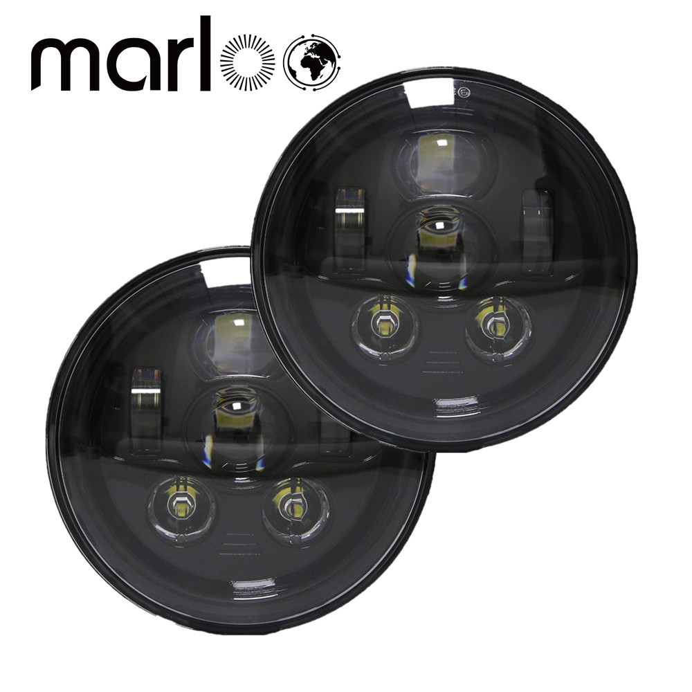 Marloo 7 Inch 90W Round LED Headlights High/Low Beam for Jeep Wrangler CJ JK TJ 97-2016 Motorcycle Offroad Vehicles - Pair 2pcs 7 inch round led headlights angle eyes headlamp head light for jeep wrangler jk tj cj 8 scrambler high low beam