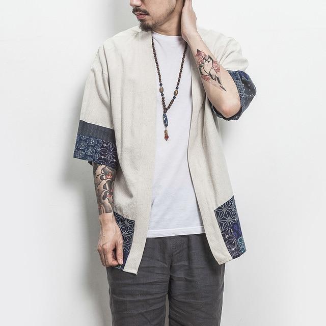 Drop Shipping Cotton Linen Shirt Jackets Men Chinese Streetwear Kimono Shirt Coat Men Linen Cardigan Jackets Coat Plus Size 5XL
