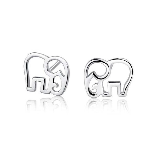 Ruifan Women's 100% 925 Sterling Silver Jewelry Fashion Cute Tiny Elephant Stud Earrings Gift for Girls Friend Teens Lady YEA153
