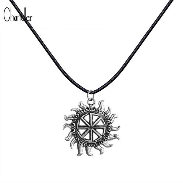 c30e33173db2 placeholder Plata hijo de Sun Sloar Kolovrat Slavic amuleto colgante collar  negro cuero cuerda cadena vikingo joyería