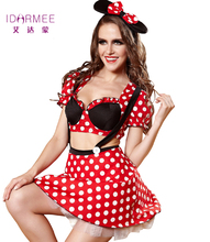 IDARMEE S9119 Mujeres Sexy Minnie Mouse Disfraces Adultos Disfraces de Halloween Animado Partido de Cosplay Disfraces Sexy Minnie Mouse Vestidos de Fantasía