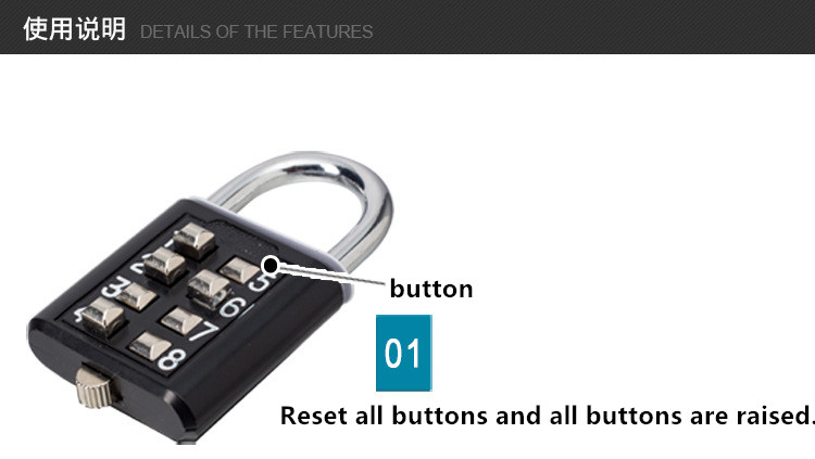 Home Improvement 5 Digit Push Button Combination Padlock Silver Number Luggage Travel Code Lock Travel Accessories