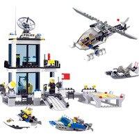 Kaizi 536pcs Police Station Building Blocks Helicopter Boat Brick Toys Compatible Legos City Bricks Set Toys