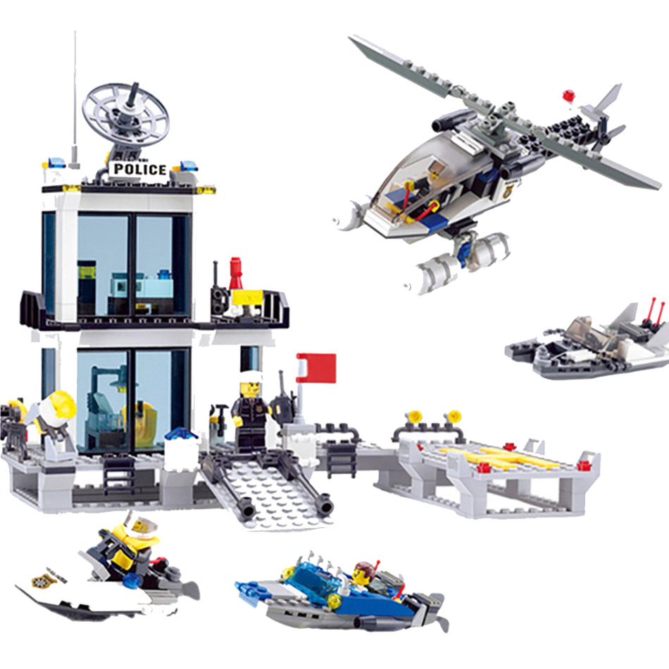 Kaizi 536pcs Police Station Building Blocks Helicopter Boat Brick Toys Compatible Legos City Bricks Set Toys For Children Gift lepin 02012 city deepwater exploration vessel 60095 building blocks policeman toys children compatible with lego gift kid sets