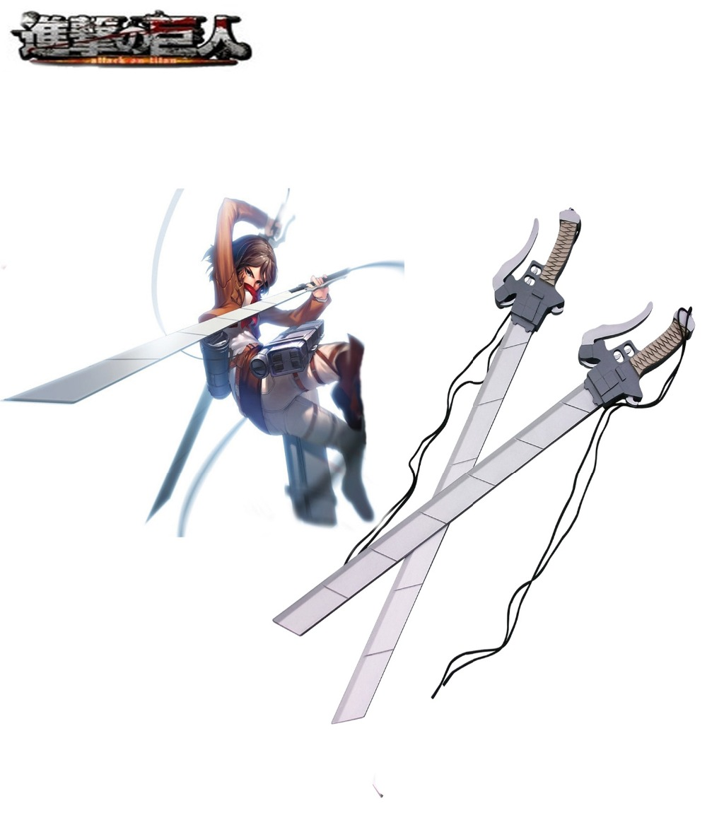 Free Shipping Attack on Titan 3-D Maneuver Gear Long Swords Cosplay Wooden Weapons