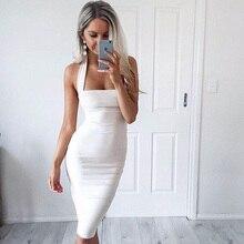 2018 Women Sexy White Bodycon Bandage Dress Black Halter Strapless Sleeveless Club Cotton Party Dresses