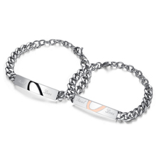 Fashion Couple Bracelet StainlessSteel Jigsaw Puzzle Lover's Bracelet Heart Bracelets Bangles Man Woman Valentine 's Day Gift
