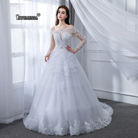 Vestido De Novias Ball Gown 2 in 1 Wedding Dress 2019 Detachable train Appliques Pearls Bridal Gowns With Nude Tulle Sleeves