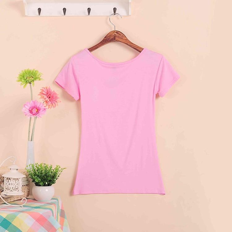 Базовые Стрейчевые топы размера плюс,, Летний стиль, короткий рукав, футболки для женщин, u-образный вырез, хлопок, женские футболки, повседневные футболки - Цвет: W00630 pink