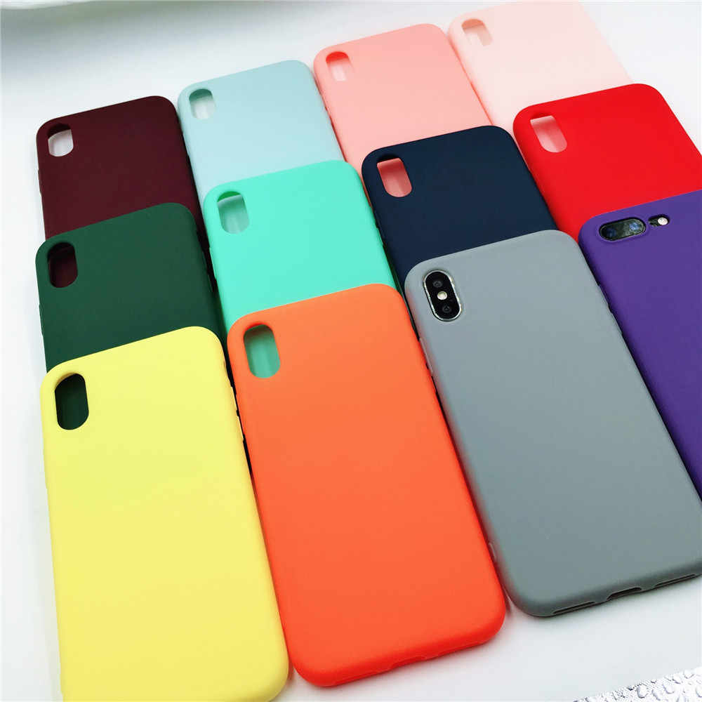 Simple Lover TPU Silicone Scrub Full Cover for iPhone X R Xs Max Matte Case Candy Phone Cases for iPhone 8 7 Plus 6s 6 plus Case