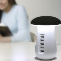 Mashroom Shape Night Light Lamp Desktop 5 USB Port Cellphone Charging Adaptor 30W 3.0 Charger Mobile Phone Chargers     -