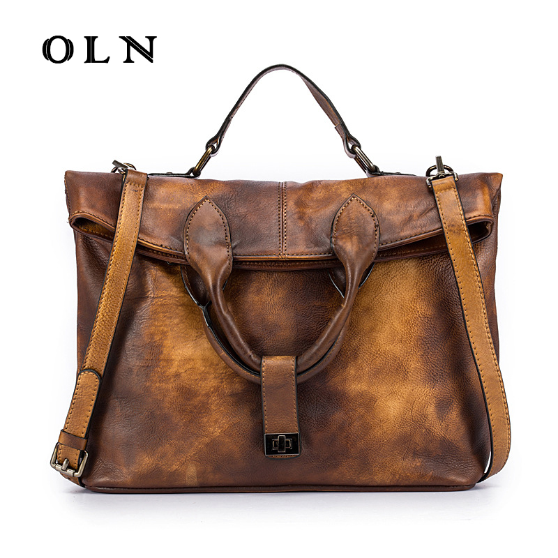 OLN Original Designer Brand New Vintage Genuine Cow Leather Soft Cowhide Women's Handbags Satchel Totes Crossbody messenger bags new designer handbags satchel genuine cow leather totes crossbody bags single shoulder vintage women s solid hasp hard bags