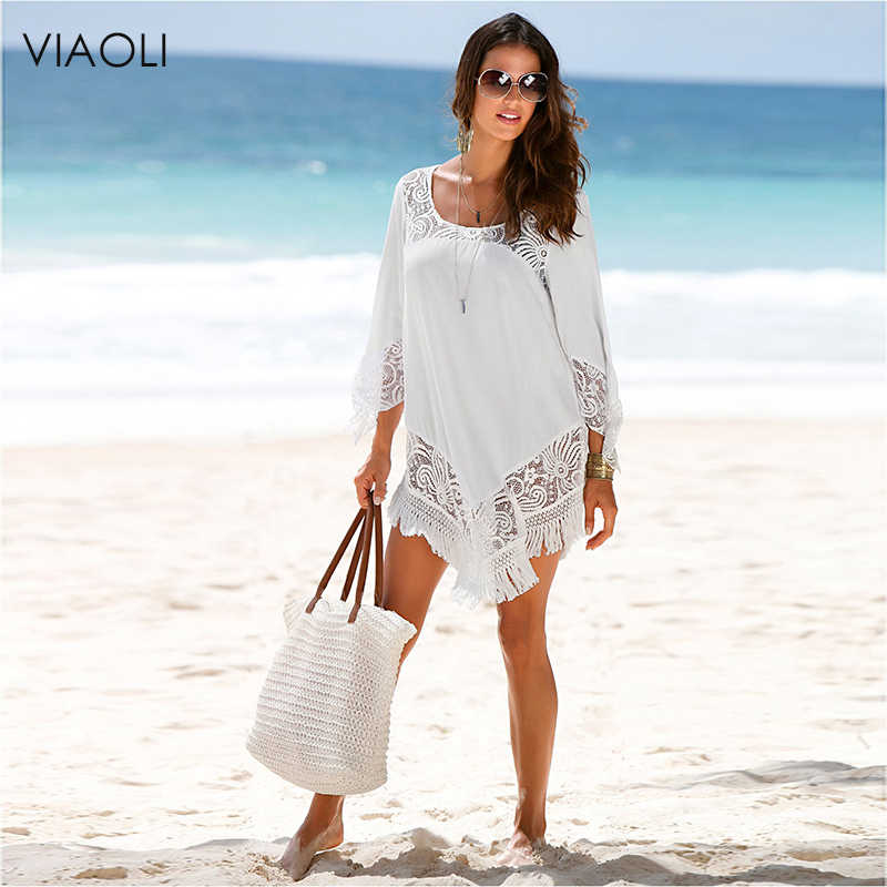 VIAOLI White Lace Cover Ups Swimwear New Summer Sexy Bikini Pareo Beach Cover Ups Beachwear Women Dress Bathing Suit Cover up