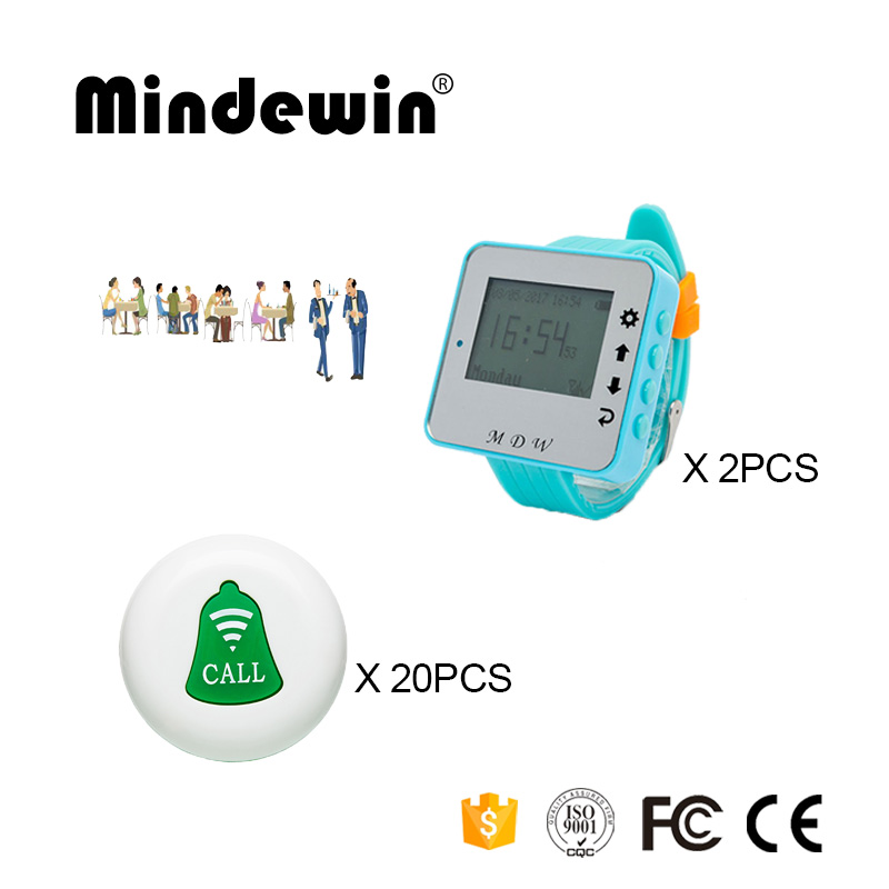 Mindewin 433Mhz Wireless Calling System 20PCS Table Call Buttons M-K-1 + 2PCS Wrist Watch Pager M-W-1 Restaurant Coaster PagerMindewin 433Mhz Wireless Calling System 20PCS Table Call Buttons M-K-1 + 2PCS Wrist Watch Pager M-W-1 Restaurant Coaster Pager
