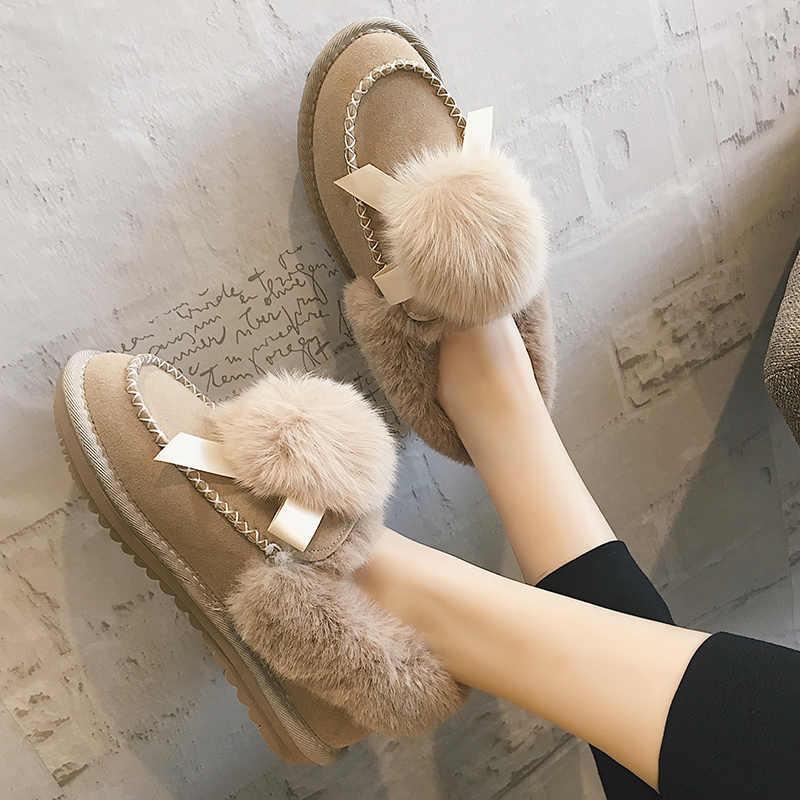 2019 frühling Frauen Kausalen Beleg Auf Schmetterling Mode Wohnungen Elegante Runde Kappe Schuhe Knoten dame Flock Schuhe XWD7248