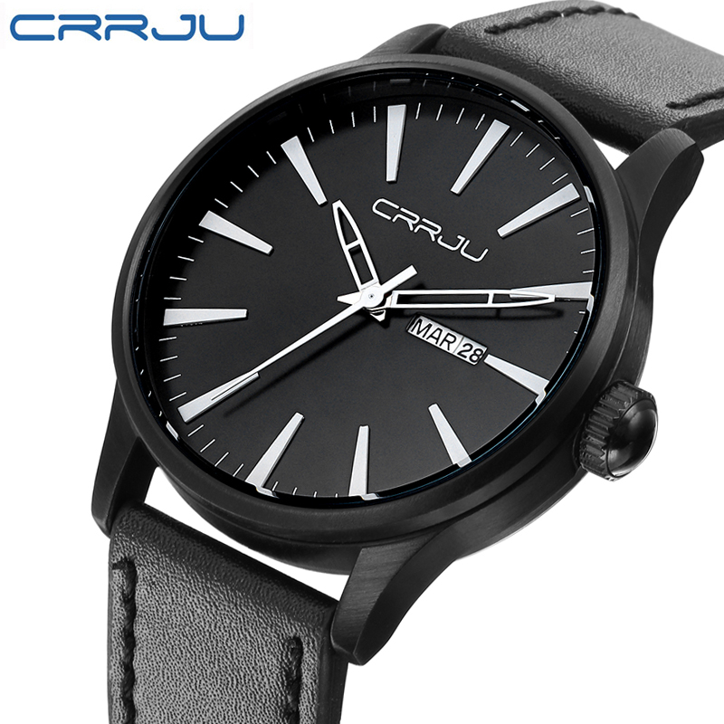 CRRJU Genuine Leather Man Watch 2016 Quartz Watch Men Relogio Masculino Clock Men's Wristwatch Montre Homme relojes hombre men s quartz relogio masculinos dial glass time men clock leather business round case hour watch relojes hombre levert dropship