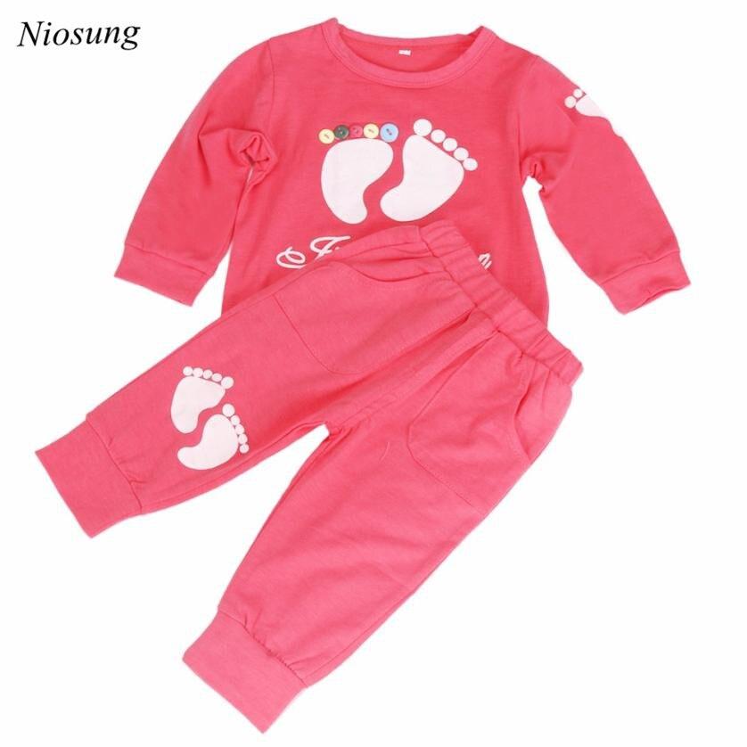 Niosung 1Set Fashion Kids Girls Boys Long Sleeve Cotton Little Feet Shirt + Pant Trousers 2pcs Baby Kids Clothing Suit v
