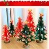 2016 S M L Mini Cute Cartoon Wooden Crafts Christmas Tree Ornament Table Desk Xmas Hanging