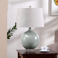 Fashion Simple Ceramic Table Lamp Modern Bedside Tables Crystal Lighting Bedroom Room Table Lights Fabric Cover