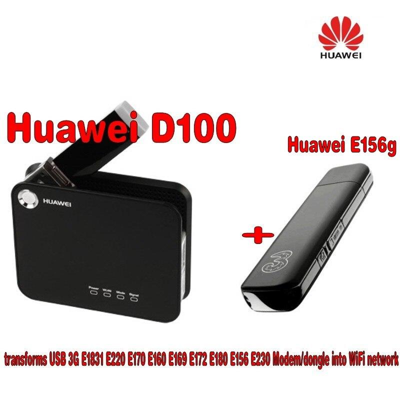Huawei Débloqué D100 3G WIFI Portable À Large Bande Sans Fil Passerelle Routeur + Huawei E156G HSDPA USB Modem