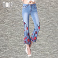 Plus size American style red floral embroidery designs denim pants Ankle-Length flare pants trousers bottom pantalon femme LT844