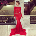 Vestidos de noche largos elegantes Evening dress Red Long Sleeve Backless Prom Dress Women formal Long Gowns  Z338