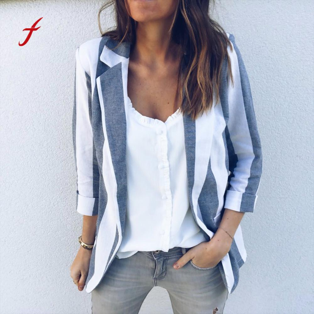 Casual Striped Cardigan Suit Coat Jacket Womens Office Work Long Sleeve Open jaqueta feminina chaqueta mujer clothes coat jeans con blazer mujer