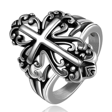 GOMAYA New Punk Style Cross 316 Stainless Steel Rings for Fashion Men Women Jewelry Party Gift Wholesale