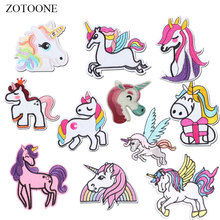 ZOTOONE Unicorn Patches Colorful Stickers Diy Iron on Clothes Heat Transfer Applique Embroidered Applications Cloth Fabric G