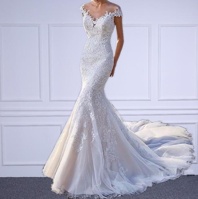 Us 163 18 18 Off Elegant O Neck Sheer Mermaid Wedding Dresses With Appliques Lace Zipper Back Long Train Vestido De Novia 2018 Sirena Renda In