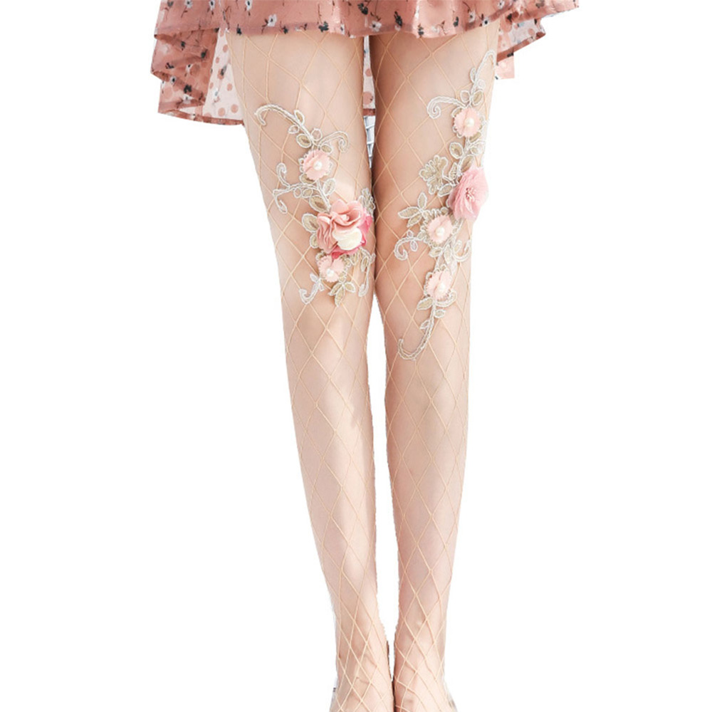 New Style Women Hollow Fishnet Embroidery Flowers Pantyhose Summer Ladies Transparent Floral Mesh Tights Collant Resille