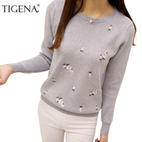 Refeeldeer 2017 Embroidery Floral Knitted Sweater Women Winter Sweater And Pullover Female Winter Top Tricot Jumper