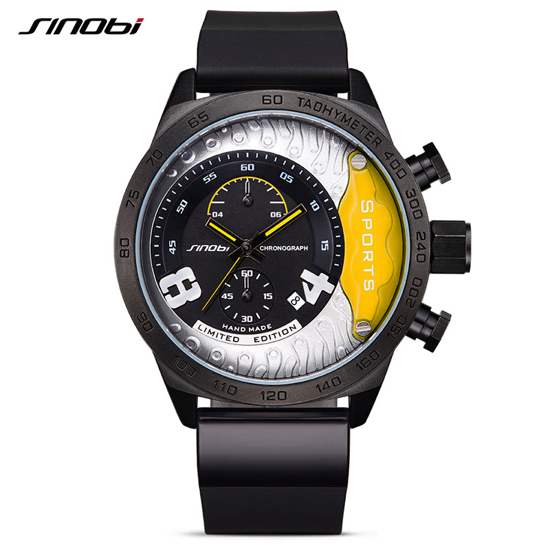 SINOBI New Chronograph Watch Male Military Wristwatches Waterproof Geneva Quartz Clock Men's Sports Relogio Masculino Racing geneva heart shaped pattern male quartz watch