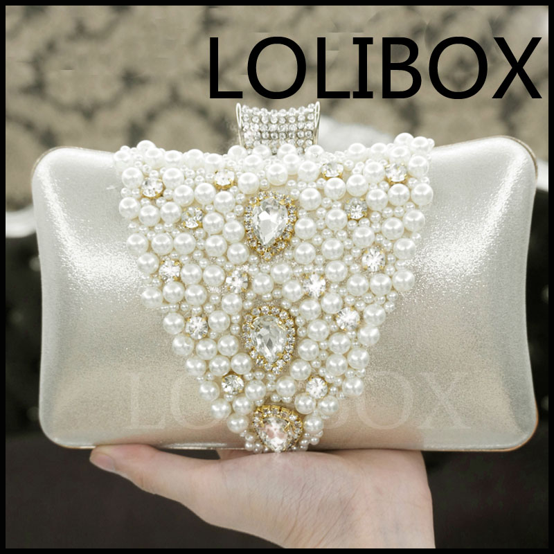LOLIBOX women messenger bags pearl diamond hard bride bag Party Day Clutches Purses and HandbagLOLIBOX women messenger bags pearl diamond hard bride bag Party Day Clutches Purses and Handbag