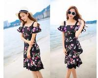 Spot Led A Word Printed Flounce Condole Belt Fashion Beach Dress Dress