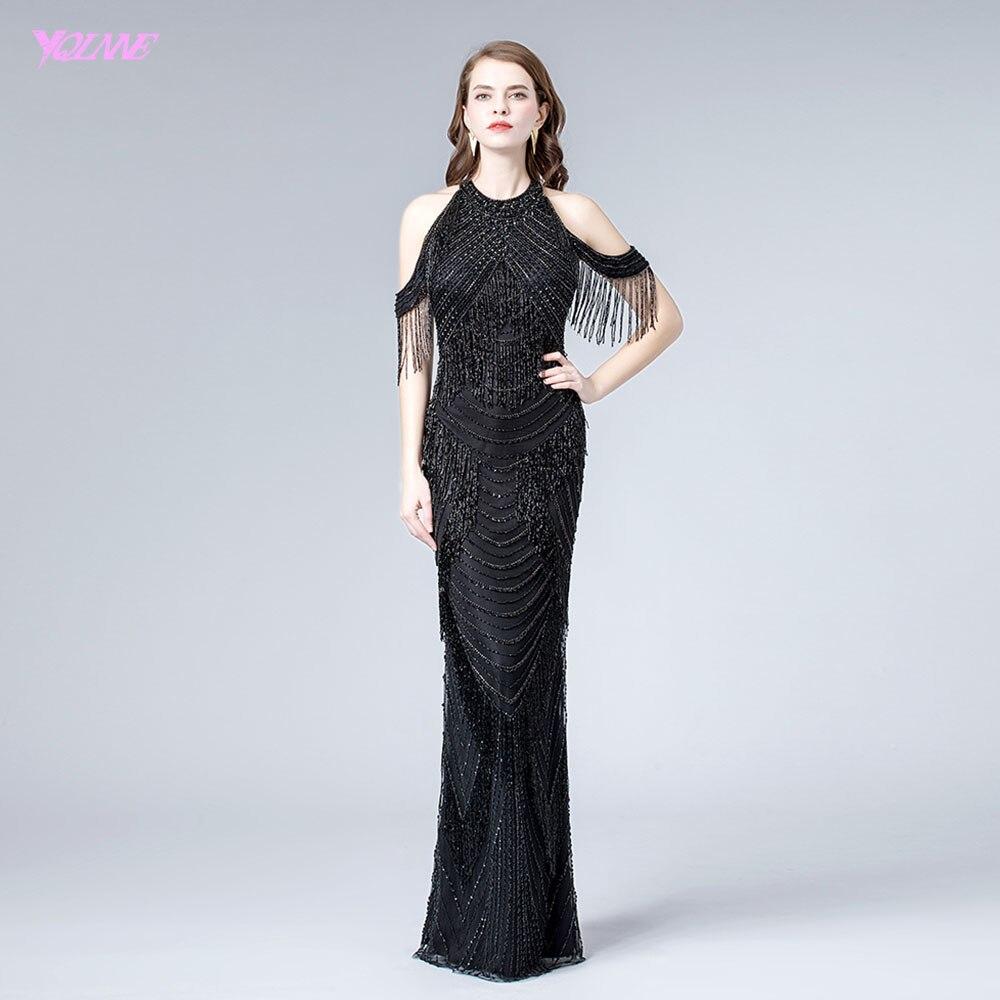 YQLNNE 2019 Black Crystal Tassel Evening Dress Long Halter Beading Evening Gown Vestido De Festa