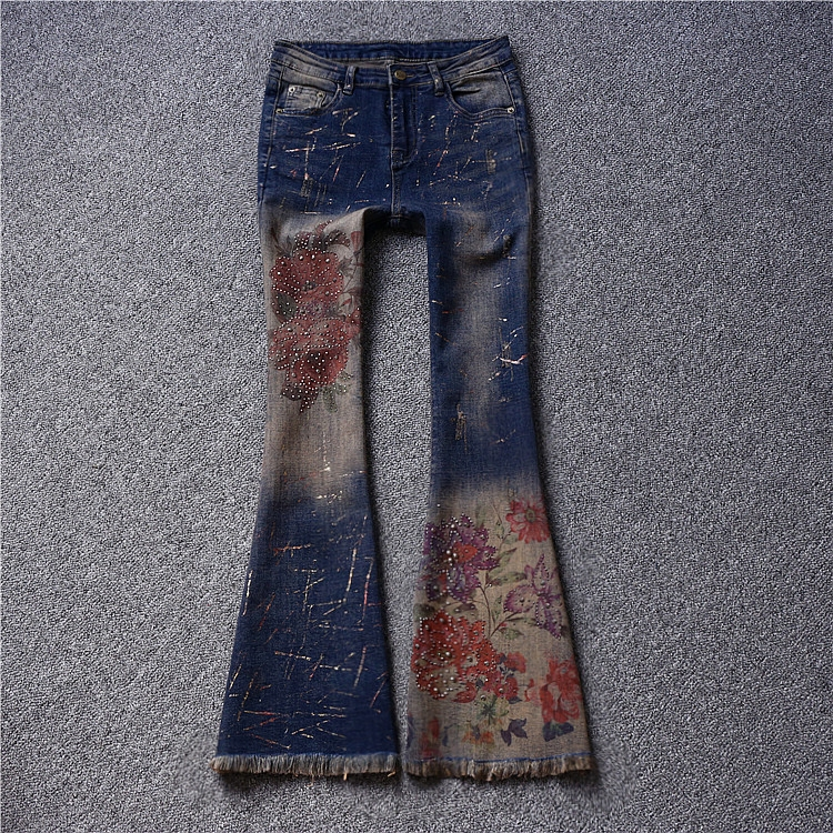 Brand fashion women s high end luxury printing stretch Slim hot diamond painted horn jeans trousers
